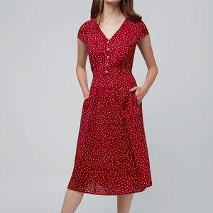 Modcloth Louche Cathleen Midi Spot Tea Dress Red